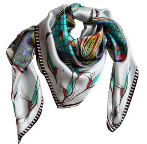 'Teal Ribbons' 100% Satin Silk, 110cm Square Scarf