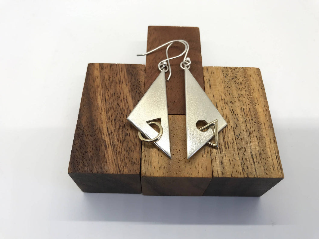 """Kite 2"" Sterling Silver Earrings with Gold Links."