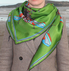 Summer Fly in Green, Silk Scarf 100% Silk Twill Scarf