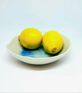 Ceramic fruit bowl. Medium size. Handcrafted in Ireland.Sea range