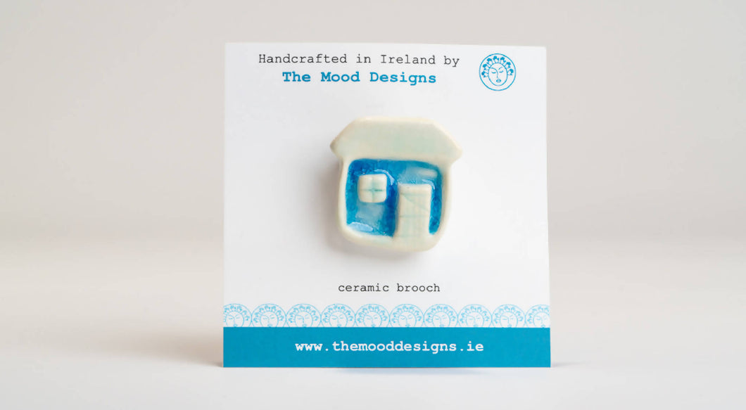 Ceramic Cottage Brooch. Handcrafted in Ireland. Sea range. The Mood Designs