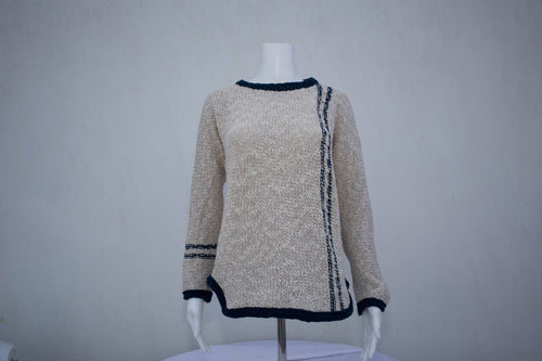 Ladies Two Tone Tunic Sweater - Navy
