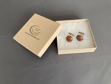 Burr Elm Cufflinks on Rhodium plated Sterling Silver
