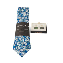 Load image into Gallery viewer, Liberty Print Tie - Emma & Georgina Dark Blue - with tie pin option