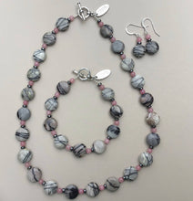 Load image into Gallery viewer, Spiderweb Jasper Necklace, Bracelet and Earrings