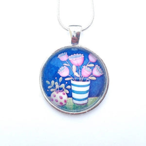 Navy and Pink Necklace | Glass Pendant Necklace