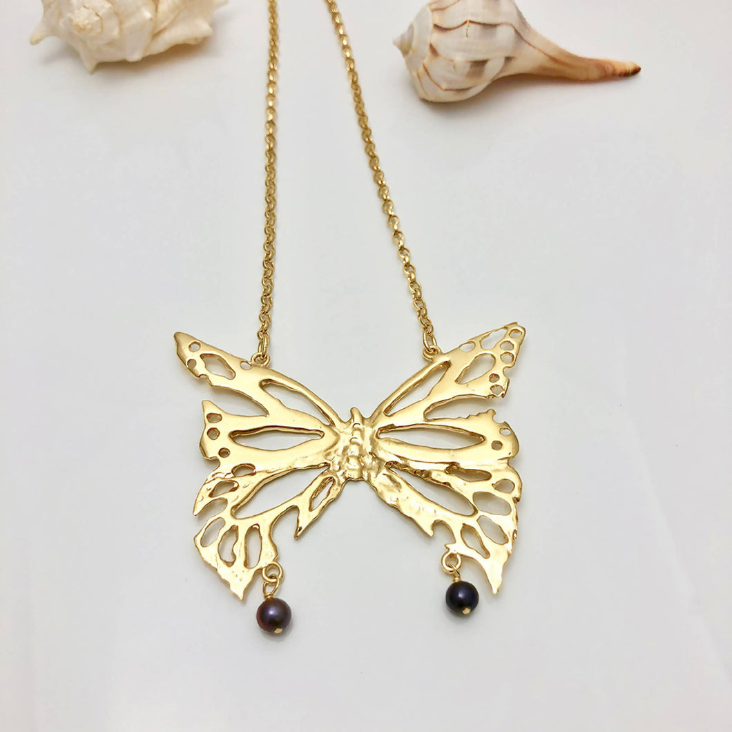 Large butterfly necklace - gold plated