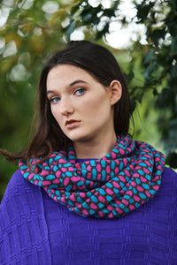Box Pattern Twisted Loop Scarf
