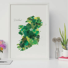 Load image into Gallery viewer, Abstract Ireland Map Print Green