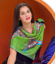Load image into Gallery viewer, Summer Fly in Green, Silk Scarf 100% Silk Twill Scarf