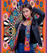 Load image into Gallery viewer, Orange Flower Burst, 100% Silk Twill, Long Rectangular Scarf
