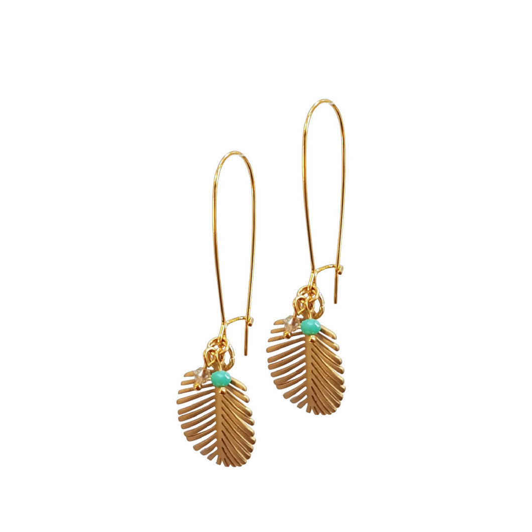 Palm Leaf Long Drop Earrings