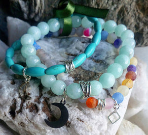 Gemstone and silver Bracelet Sets of 3