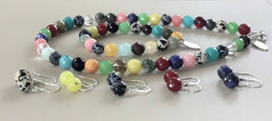 Gemstone Necklace , Bracelet and Earrings