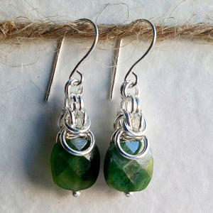 Green Jade Byzantine Earrings