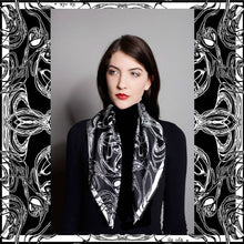 Load image into Gallery viewer, Windy Day, Black and White, 100% Silk Twill Scarf