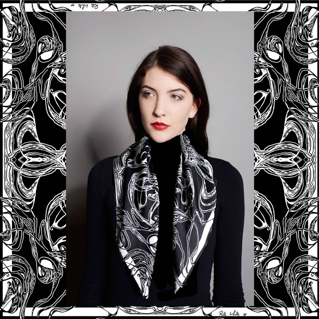 Windy Day, Black and White, 100% Silk Twill Scarf