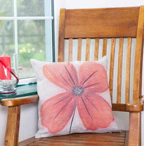 Poppy Natural Linen Cushion