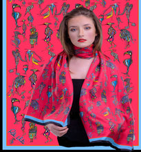 Load image into Gallery viewer, Birds wearing shoes, 100% Silk Twill, Long Rectangular Scarf