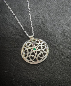 Celtic Heart Dome pendant with emerald
