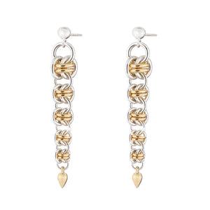 """Gold Orbit"" silver & gold chainmail earrings"