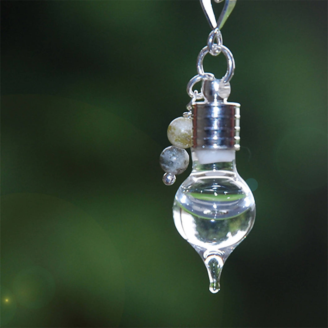 Glass teardrop pendant with Connemara Marble Beads