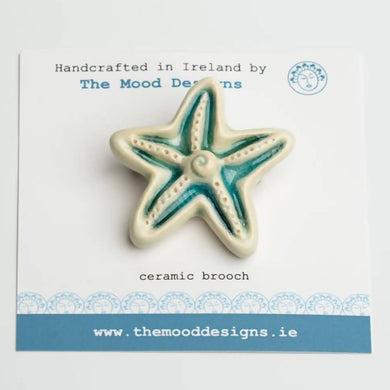 Ceramic Starfish Brooch. Handcrafted in Ireland. Sea range.