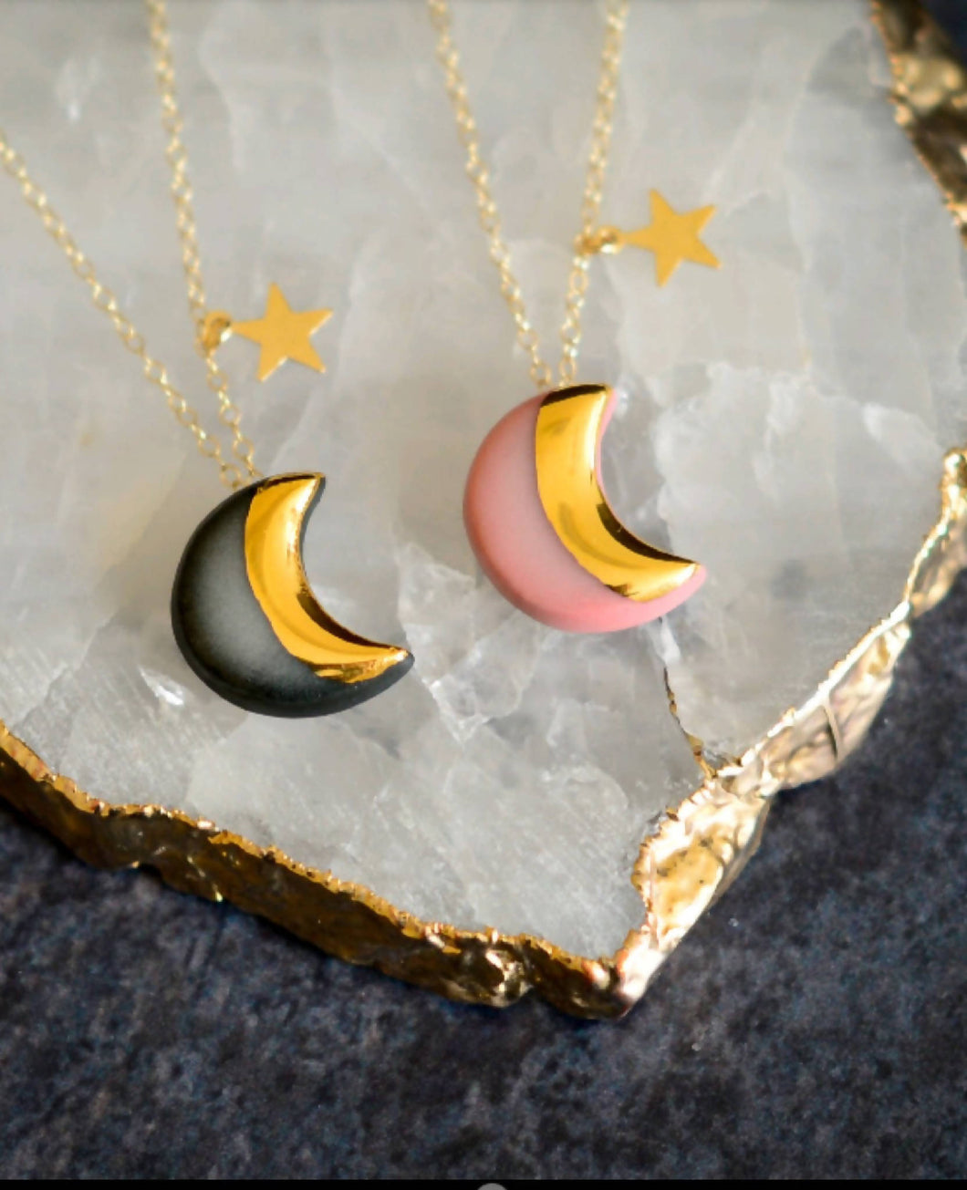 Moon and Star necklace in Black or Pink