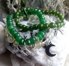 Load image into Gallery viewer, Gemstone and silver Bracelet Sets of 3