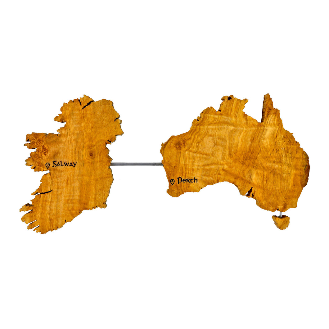 Ireland Australia Wall Art - Personalised Map