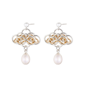 """Nymph Pearl"" gold & silver earrings"