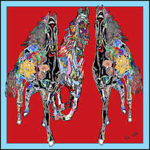 Load image into Gallery viewer, Red Gallop Silk Scarf, 110cm Square