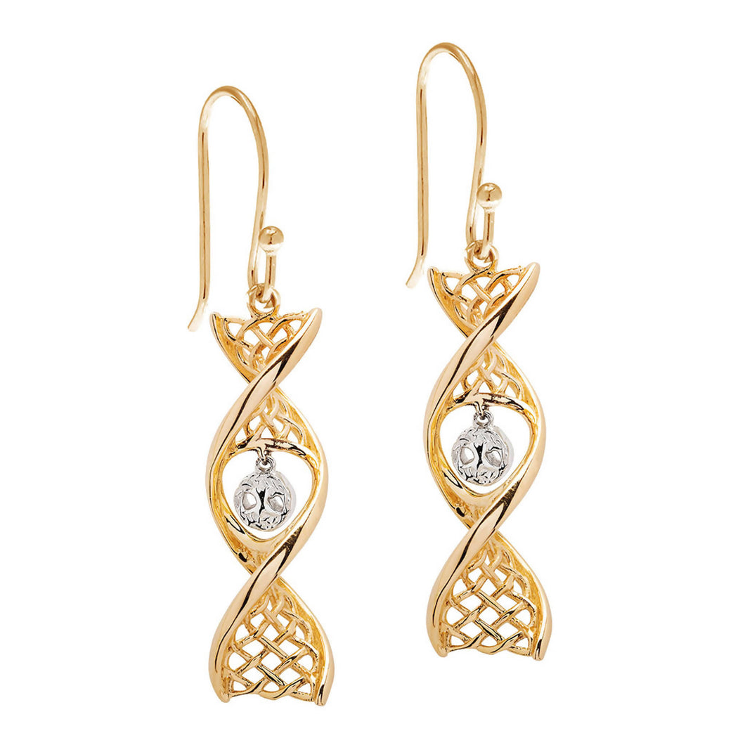 Celtic DNA Tree of Life Earrings 14K Yellow Gold