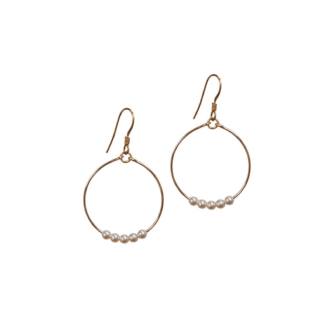 Mini Pearl Small Loop Earrings