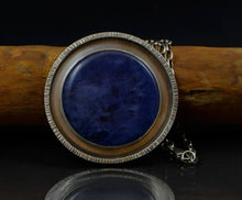 Load image into Gallery viewer, Handmade Stunning Round Navy-Blue Sodalite Silver Pendant