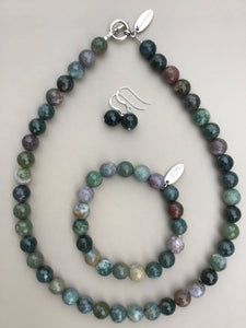 Indian Agate Necklace, Bracelet and Earrings