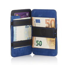Load image into Gallery viewer, Magic Wallet Black with Luxury Blue Suede