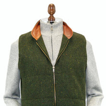 Load image into Gallery viewer, Men's Green Tweed Body Warmer and Gilet Trimmed with Leather