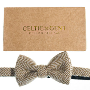 Irish Oatmeal Herringbone Bow Tie