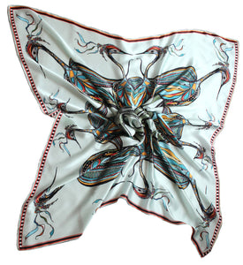 'Birds on the Wheel',100% Satin Silk, 110cm Square