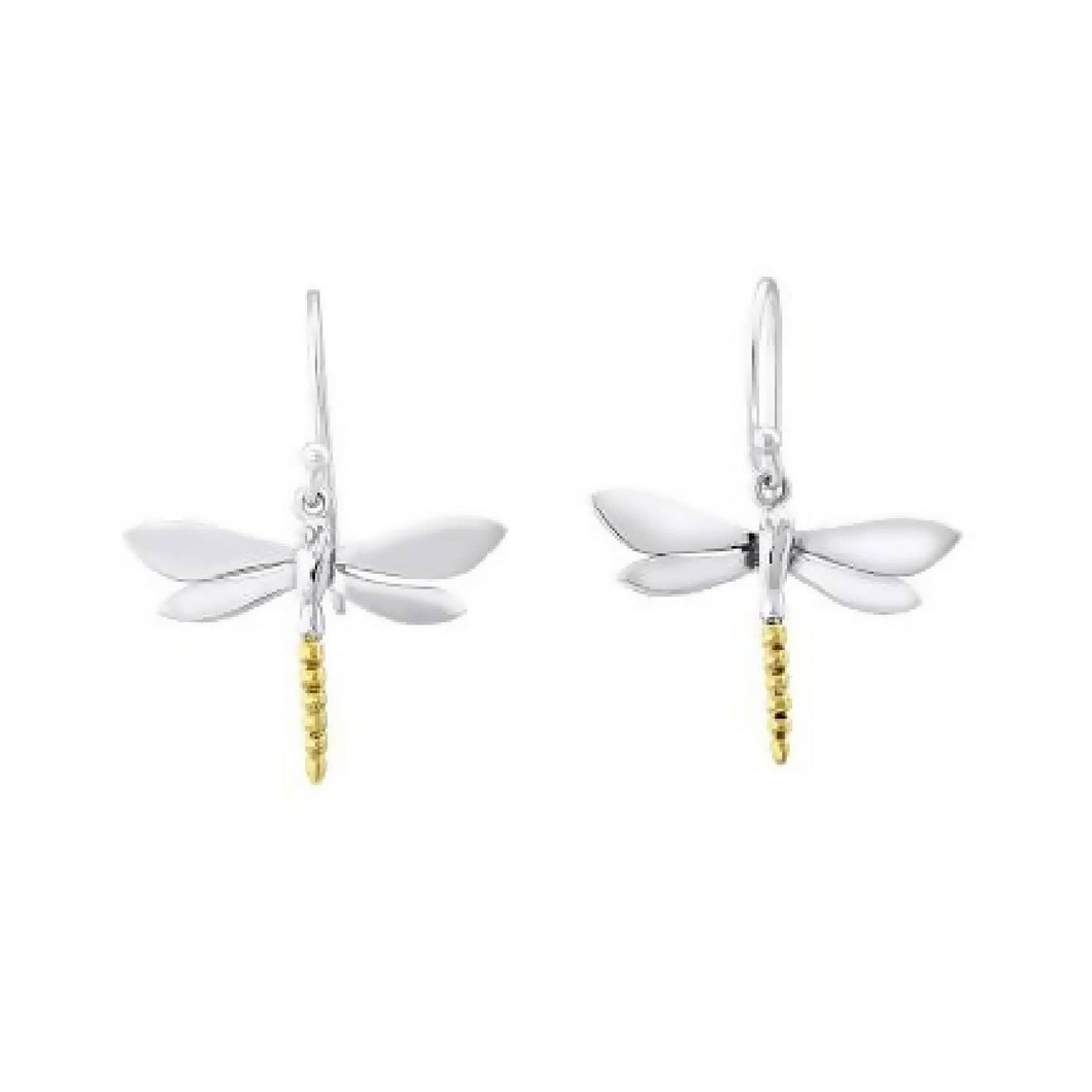 Dragonfly Dangle Earrings with Gold Tail
