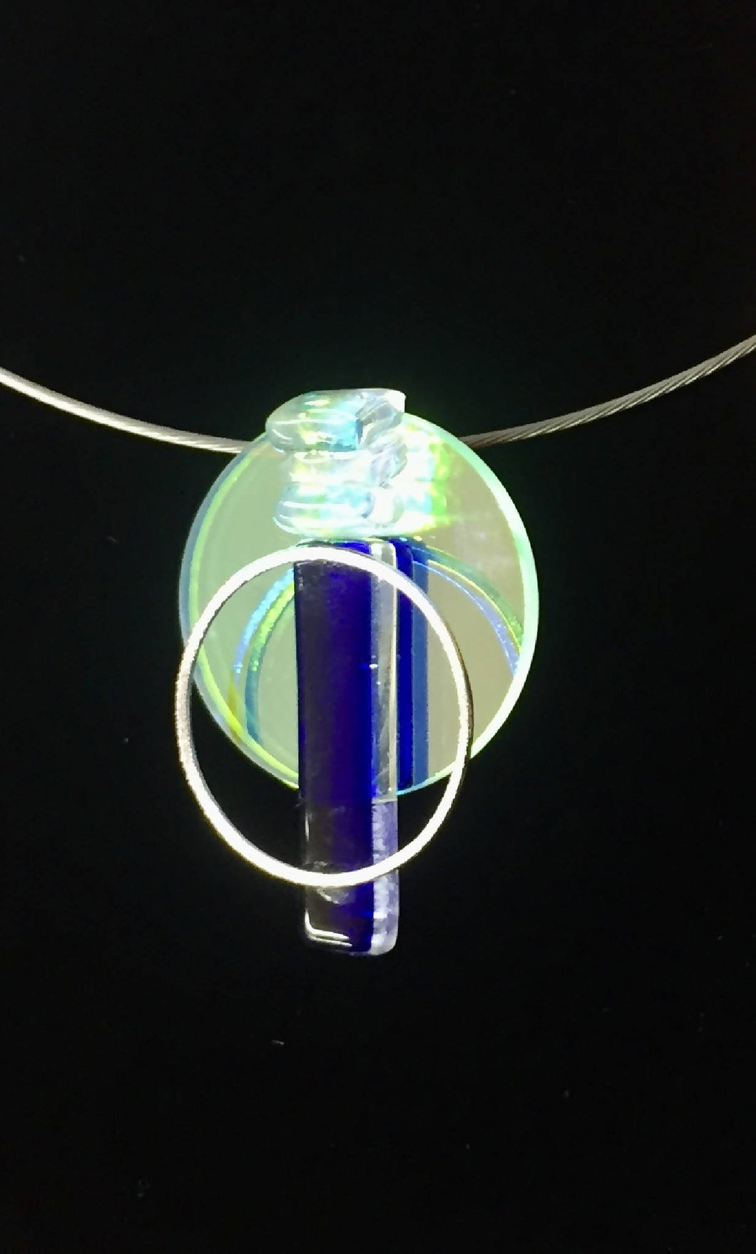 glass necklace with sterling silver