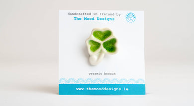 Ceramic Shamrock Brooch. Handcrafted in Ireland. The Mood Designs