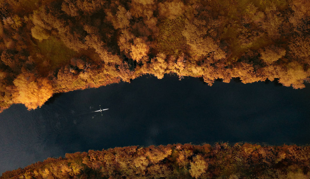 Rower on Autumnal River 100x50cm Limited Edition Fine Art Acrylic Print