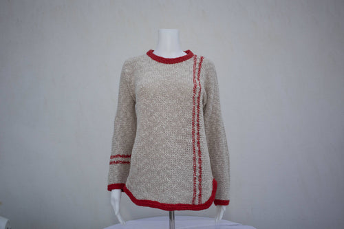 Ladies Two Tone Tunic Sweater - Red