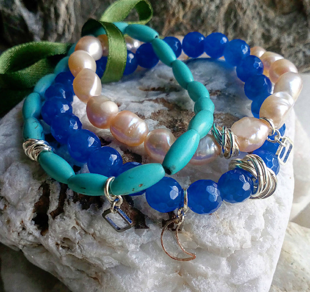 Turquoise, Pearl & Blue Chalcedony Bracelet Set