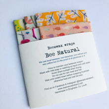 Load image into Gallery viewer, Set of 5 Beeswax wraps WARM shade patterns
