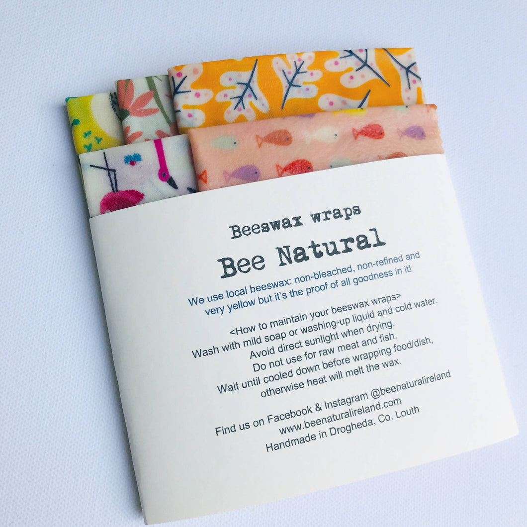Set of 5 Beeswax wraps WARM shade patterns
