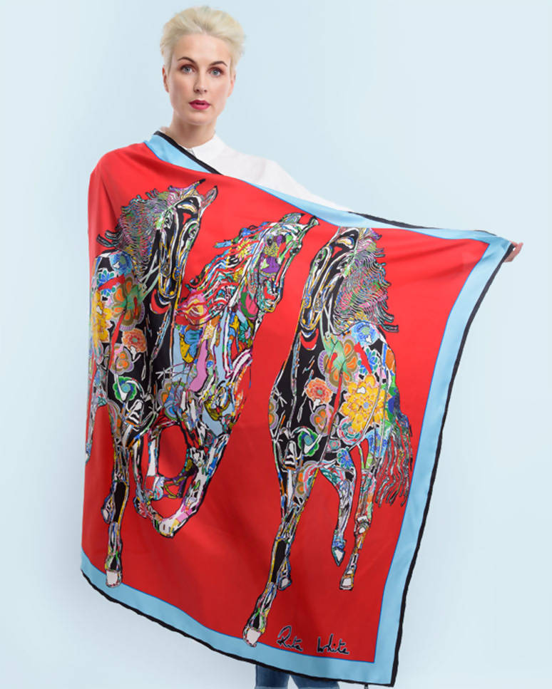 Red Gallop Silk Scarf, 110cm Square