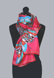 Funky Fly Design in Pink & Grey, 100% Silk Twill, Long Rectangular Scarf